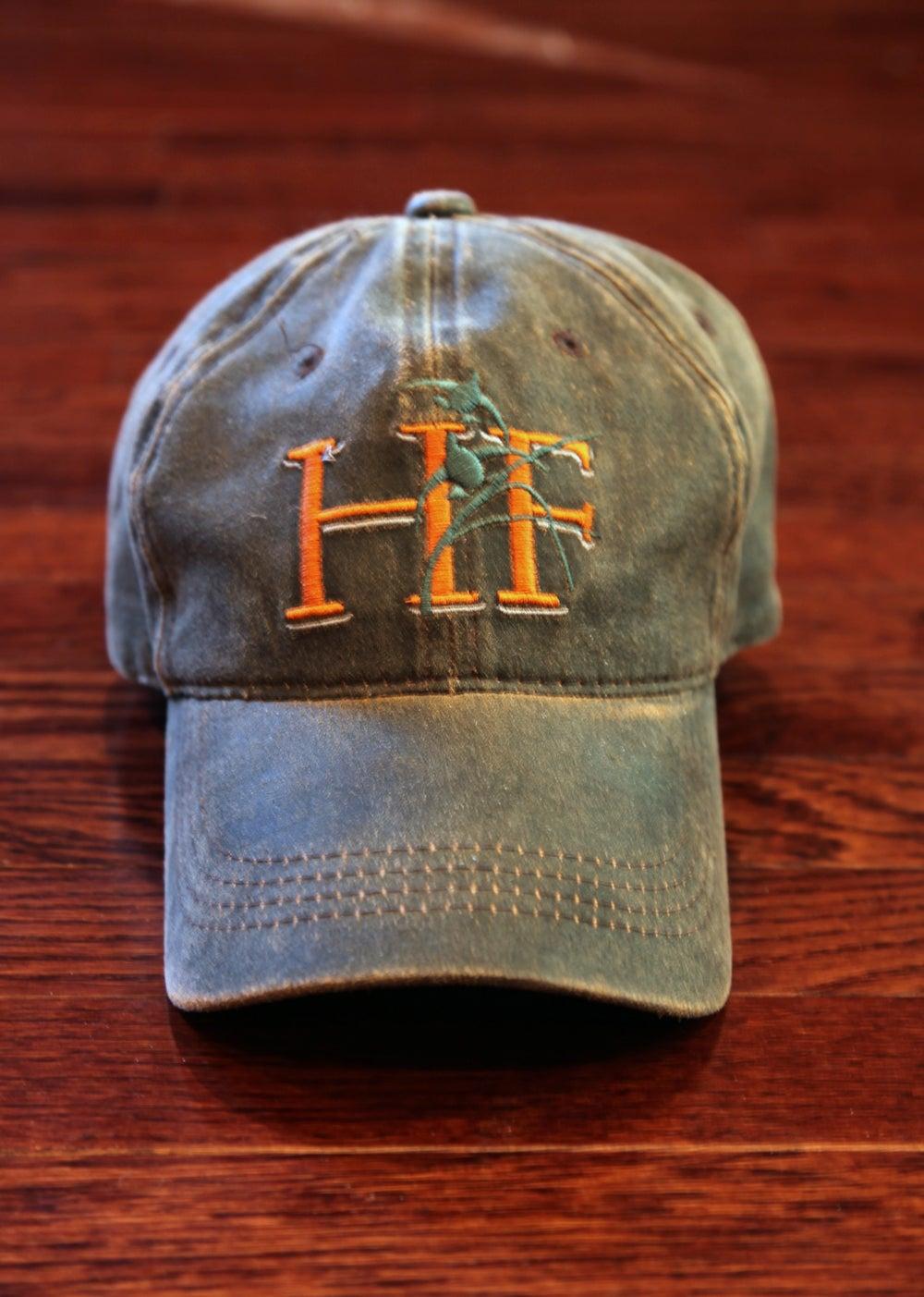 Image of Habitat Flats Orange Logo Waxed Canvas Hat