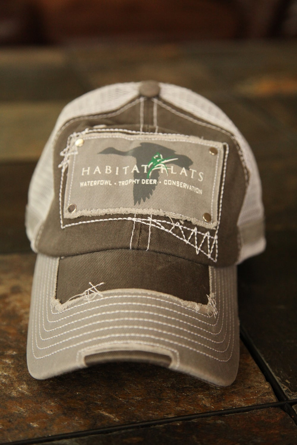 Image of Distressed Stitching Slate Trucker Hat