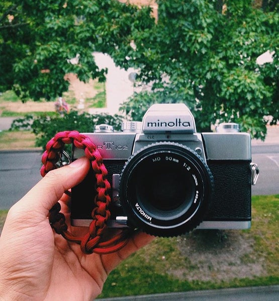 Image of Red adjustable camera wrist strap
