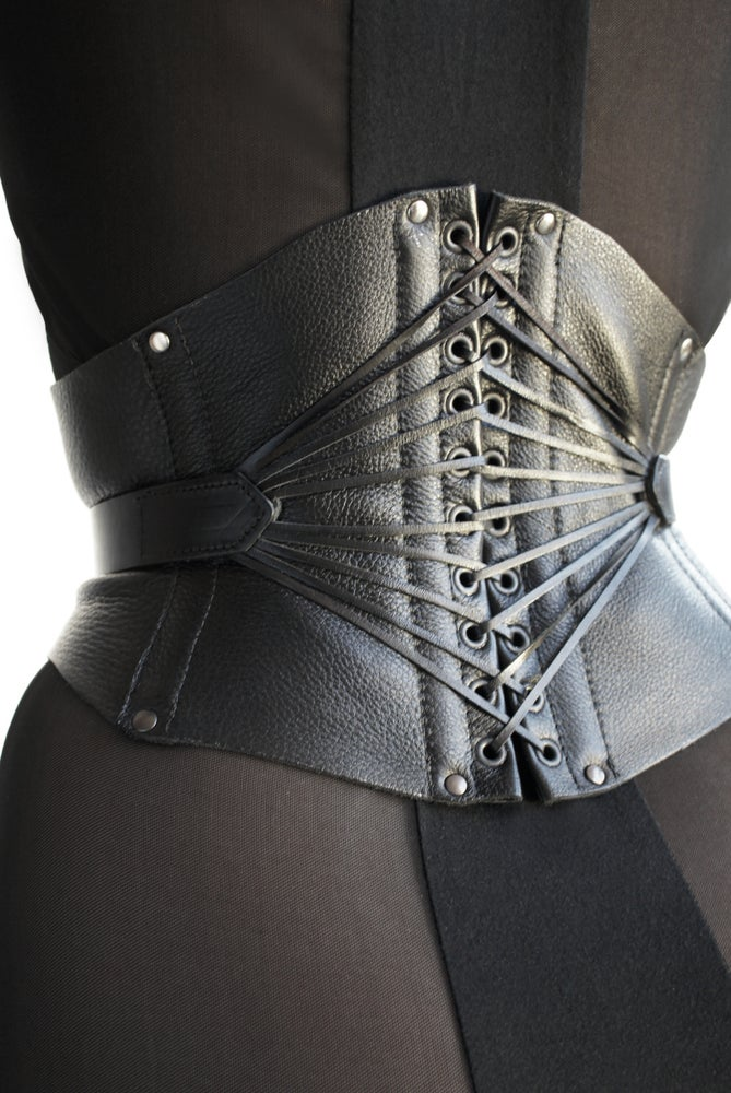 Image of Mistress cincher corset in black leather