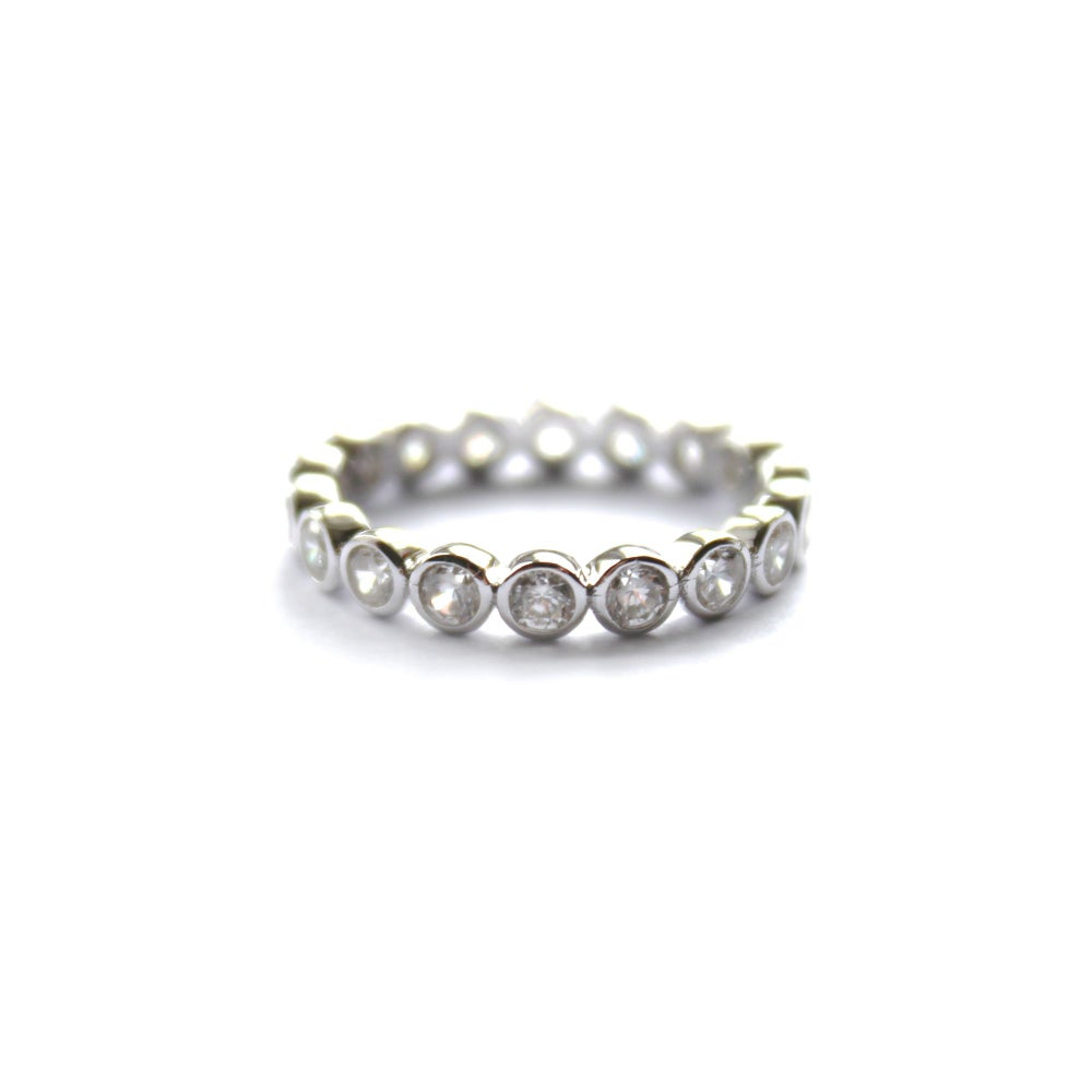 Image of GEMSTONE BAND RING - 925 STERLING SILVER