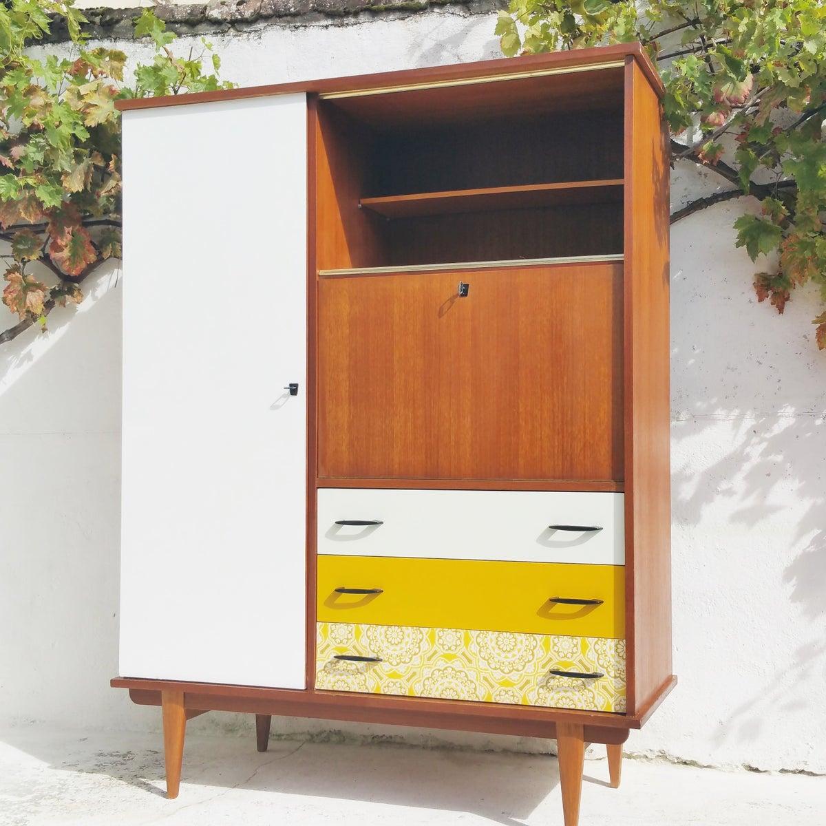 armoire secr taire penderie vintage fibresendeco vannerie artisanale mobilier vintage. Black Bedroom Furniture Sets. Home Design Ideas