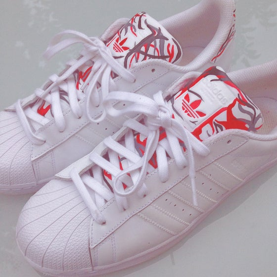 Image of 'ADIDAS SUPERSTARS - RED - GREY - BLACK CUSTOM PATTERN'