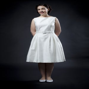 Image of 'Sally' dress - Cream shantung