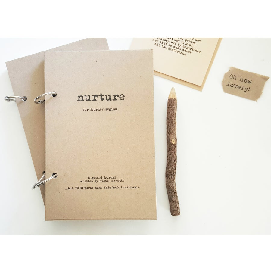Image of NURTURE-A Guided Pregnancy/New Baby Journal-50 Unique Prompts-TAN