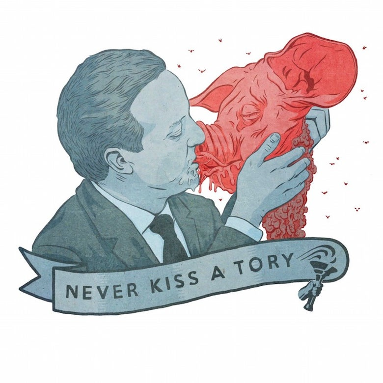 Image of 'NEVER KISS A TORY' T-Shirt Reprint