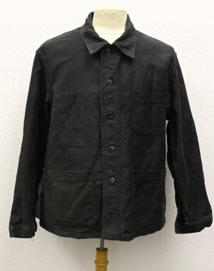 Image of 1950'S FRENCH BLACK MOLESKIN WORK JACKET FADED 2
