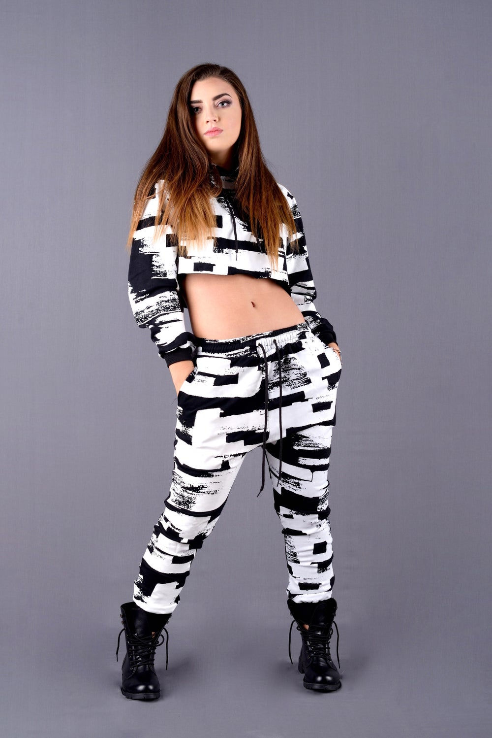 Image of Black & White Joggers Set