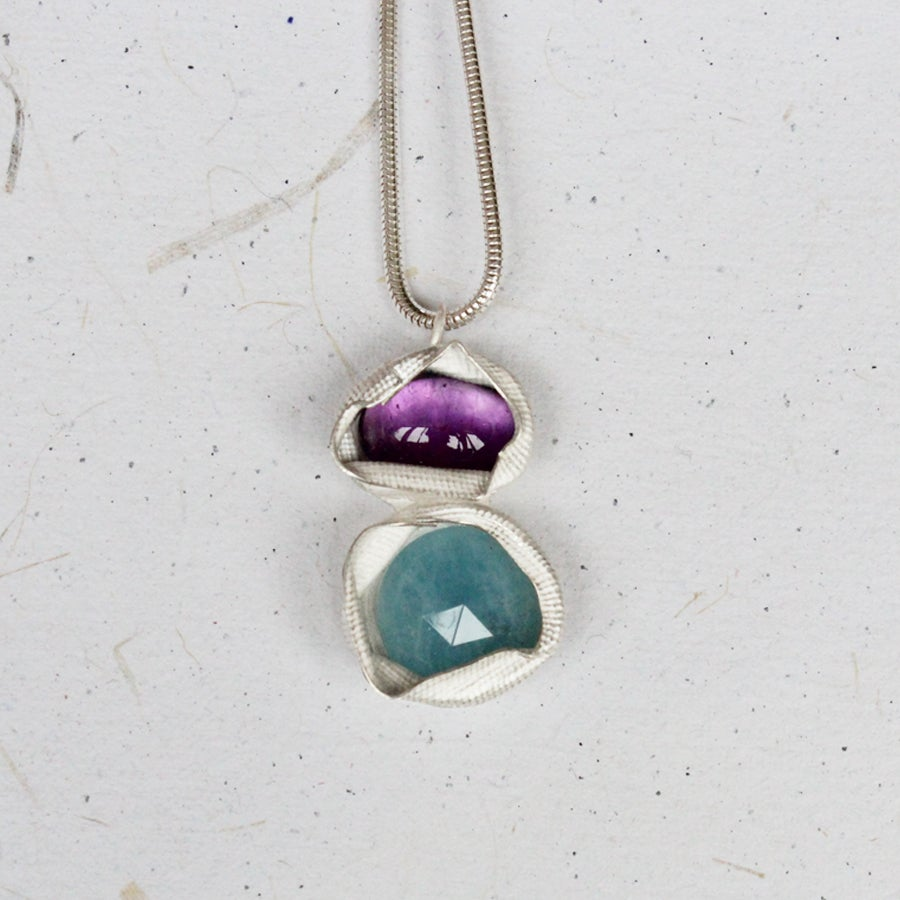 Image of Amethyst and Amazonite Pendant