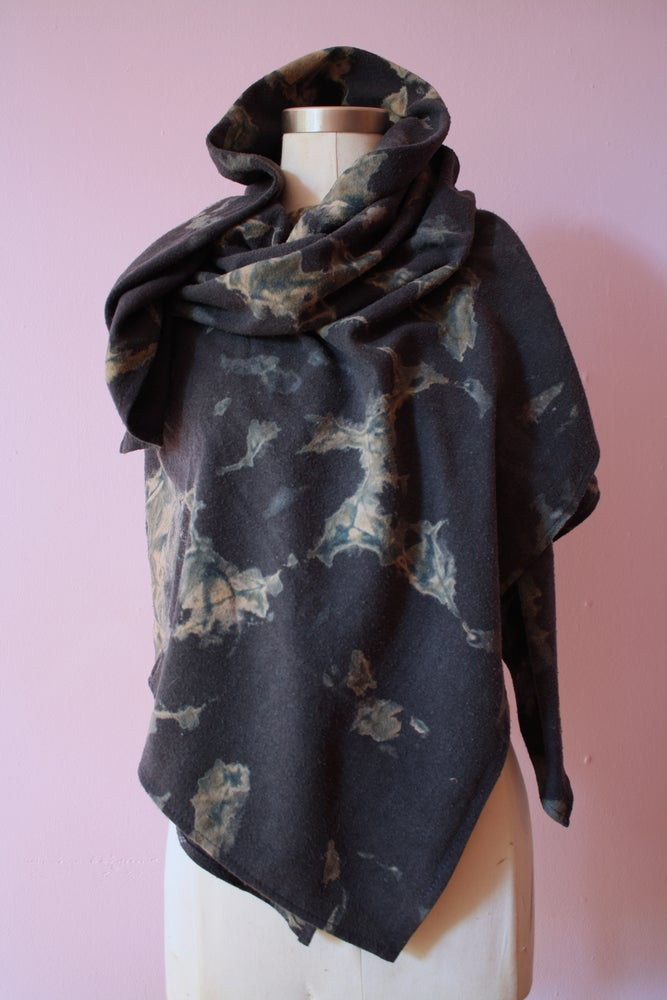 "Image of Black Scarf, Hand Dyed on Raw Silk, ""Electrical Storm"" Pattern"