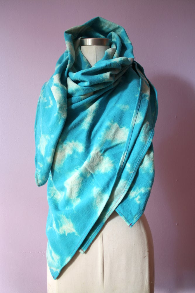 """Image of Sky Blue Scarf, Hand Dyed on Raw Silk, """"Condensed Clouds"""" Pattern"""