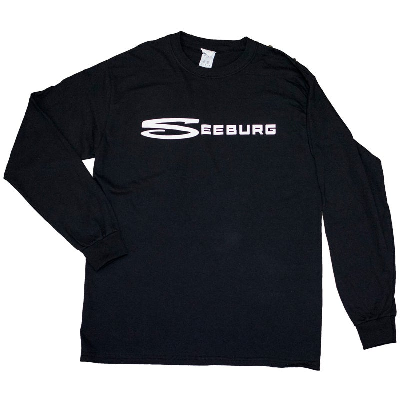 Image of Black Long Sleeve Tee with Large White Seeburg Logo
