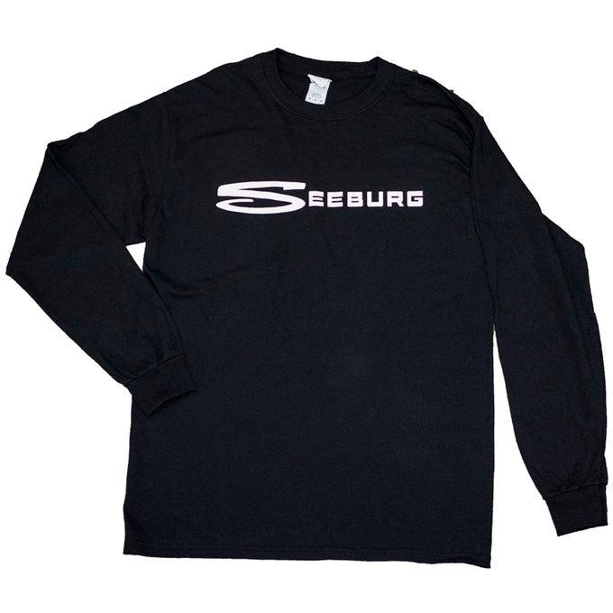 Image of Black Long Sleeve Tee with Large White Seeburg Logo