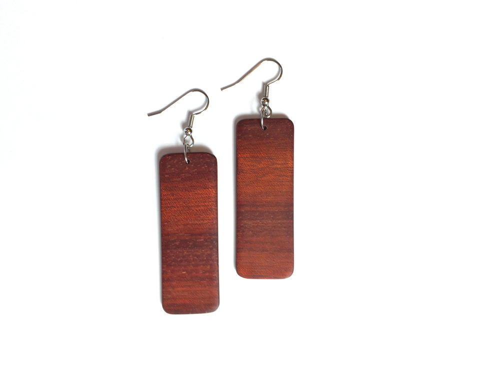 Image of Bloodwood Rectangle Earrings