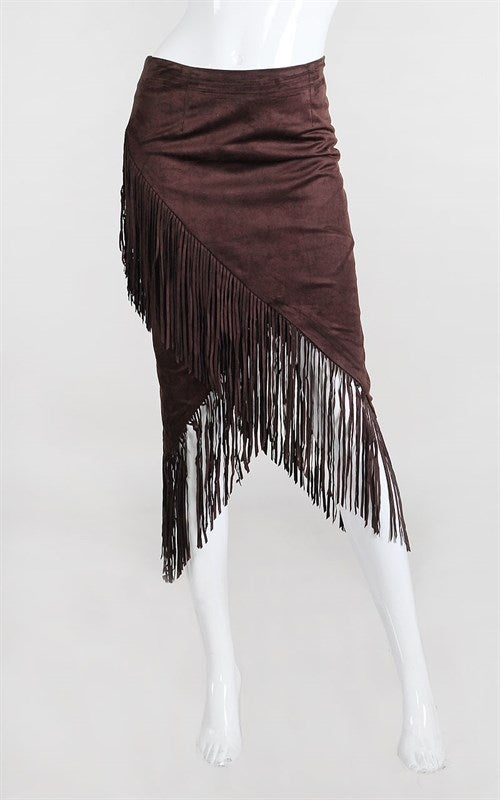 Image of Fringe Suede Skirt Lush