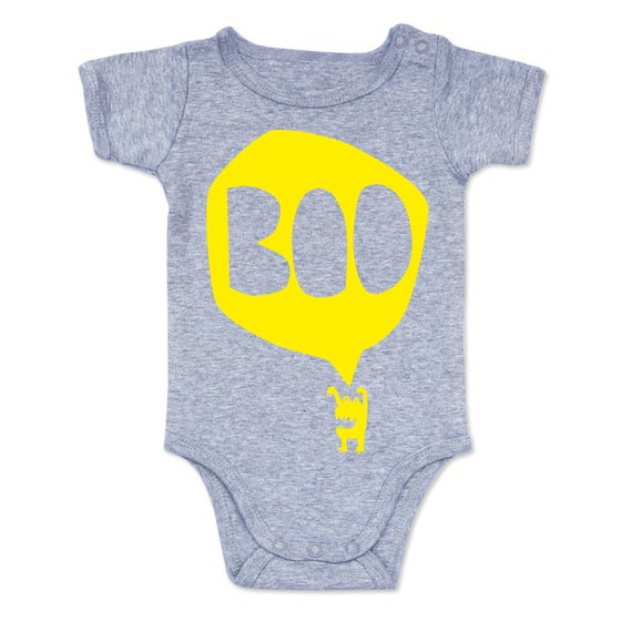 Image of BOO Onesie - Yellow on Grey