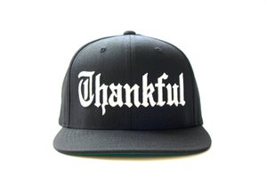 Image of OLD ENGLISH (BLACK) THANKFUL SNAP BACK