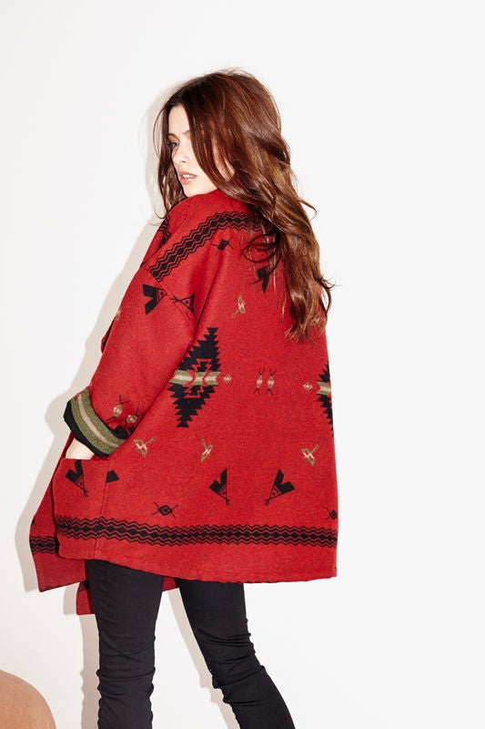 Image of Capulet Red Teepee Jacquard Wrap Jacket