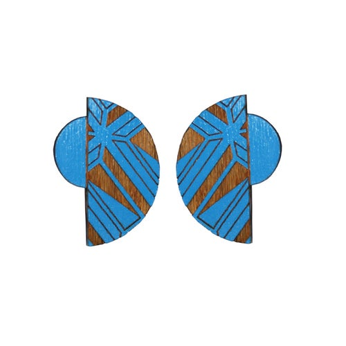 Image of Segment duo semi circle etched studs ( various colours)