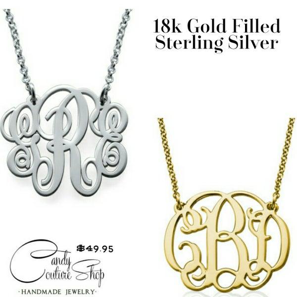 Image of 18k Gold or Sterling Silver Monogram Necklace