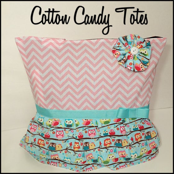 Image of Chevron and Owls Diaper Bag with Ruffles
