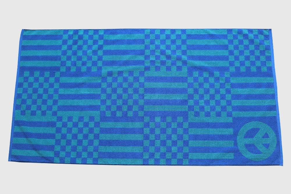 Image of Large Check Towel <div> French Blue & Teal </div>