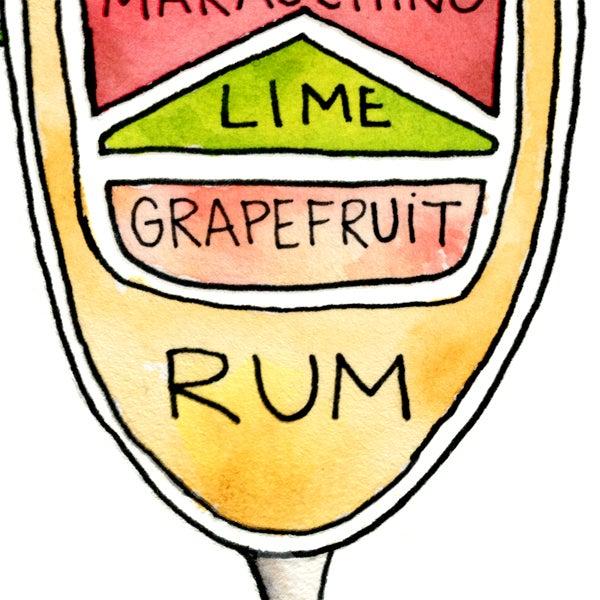 Image of Hemingway Daiquiri Cocktail Art Print