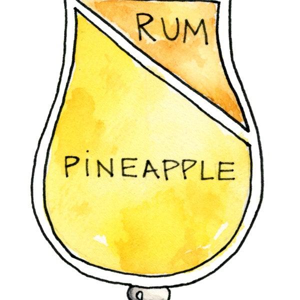 Image of Pina Colada Cocktail Diagram Print