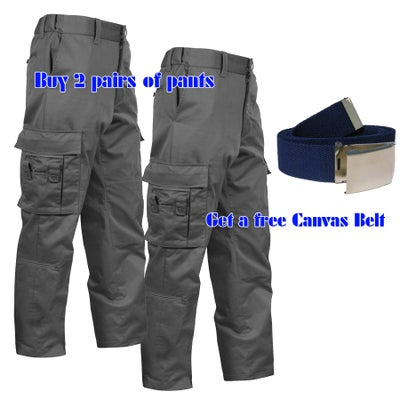 "Image of 2 Pairs of Black Men's EMT Pants Package (Free Canvas Belt)  ~  32"" inseam"