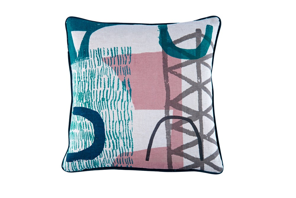 Image of 'Assemble/Configure' Cushion- Pink / Teal / Navy / Grey