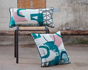 Image of 'Assemble/Configure' Cushion- Teal / Pink / Navy / Grey