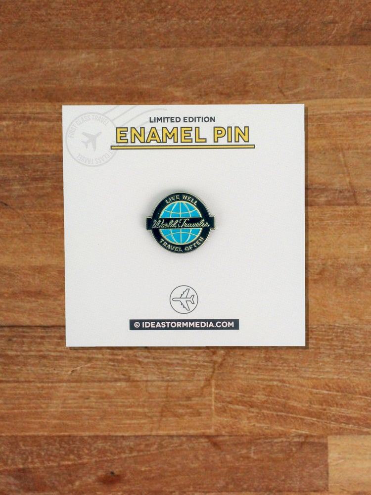 Image of World Traveler Badge Enamel Pin