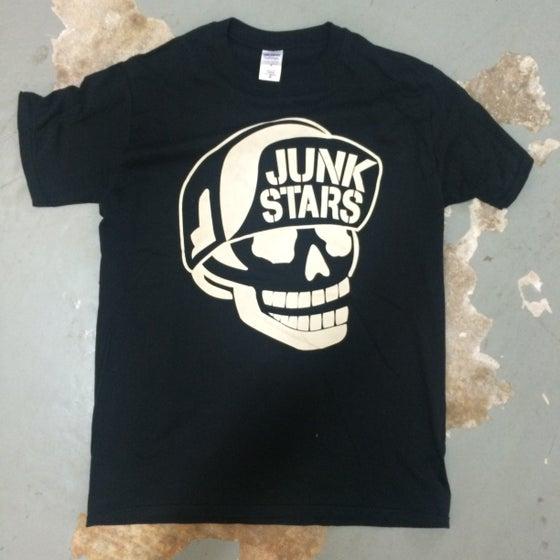 """Image of JUNKSTARS Limited edition """"Flip Cap Skull"""" ( Black T-shirt)"""