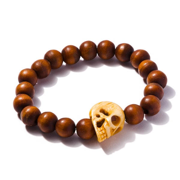 Image of XL Bone Skull with Wooden Beads Bracelet