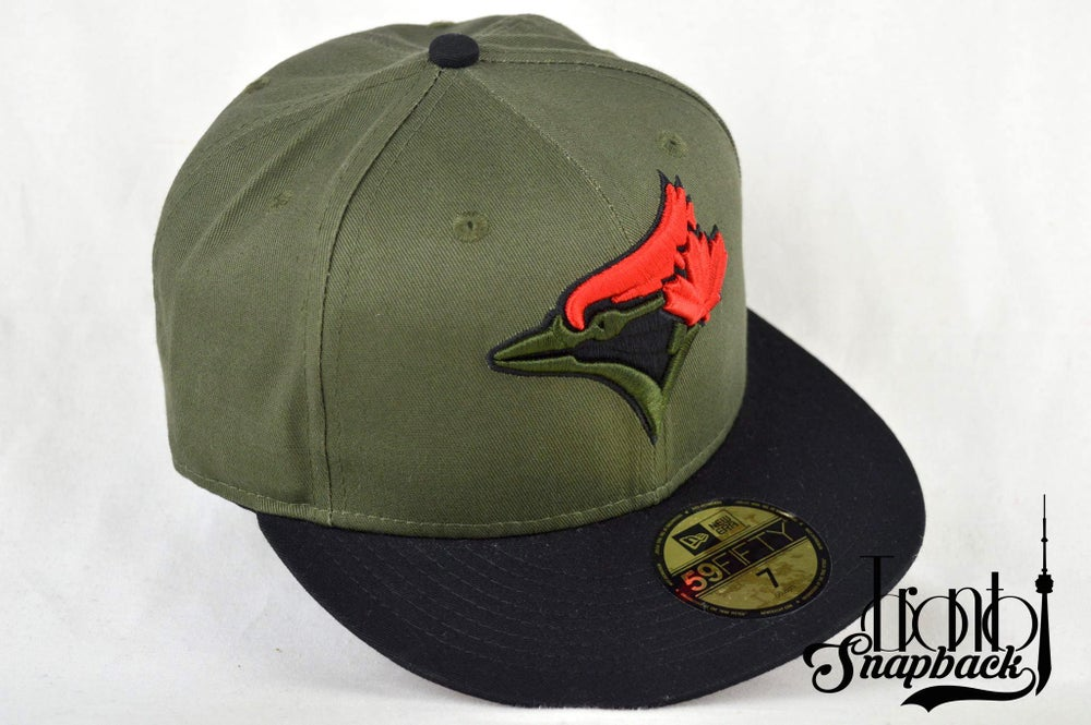Image of TORONTO BLUE JAYS CUSTOM OLIVE GREEN, BLACK & RED NEW ERA 5950 FITTED