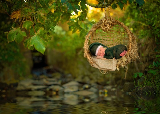 Image of Woodsy Wonders Chunky Newborn Hammock with Jute Back & Barn Rope
