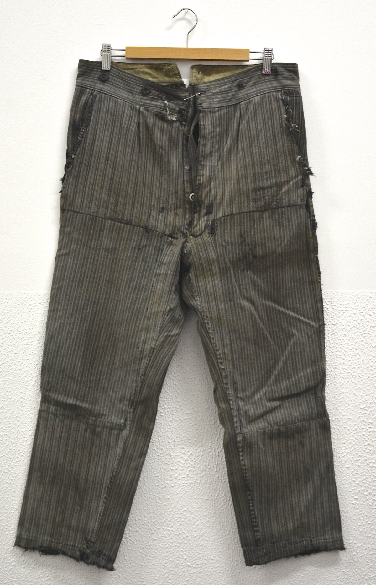 Image of 1900'S FRENCH SALT N' PEPPER STRIPPED PANTS 1 ストライプパッチワークパンツ