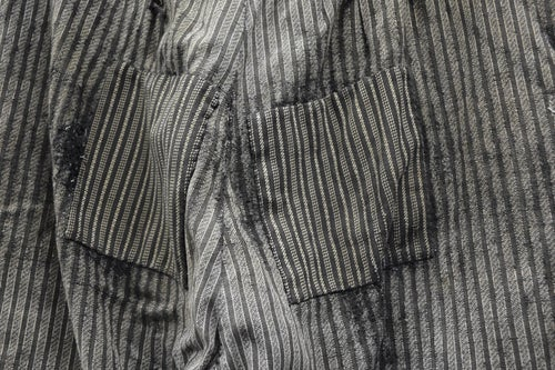 Image of 1900'S FRENCH SALT N' PEPPER STRIPPED PANTS PATCHED & FADED 2