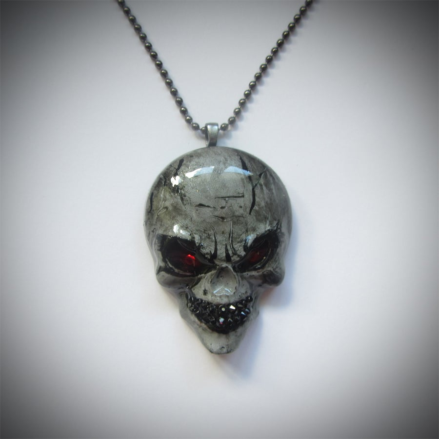 Image of Evil Gentleman Resin Skull Pendant