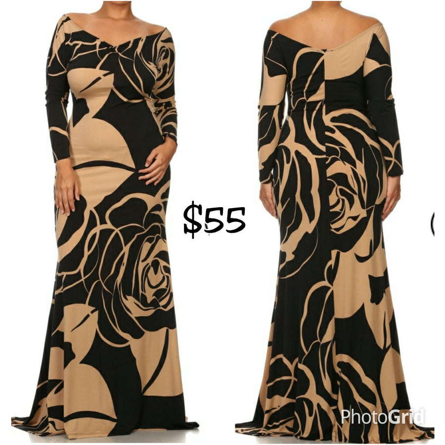 Image of Taupe/Black Floral Vcut Maxi