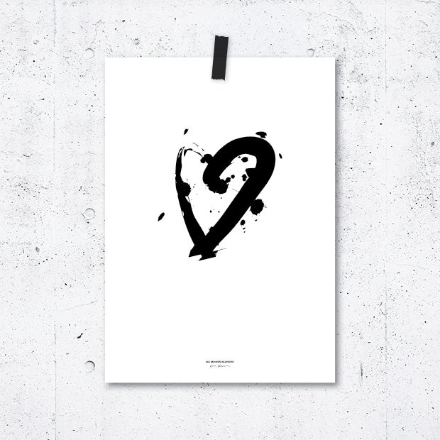 Image of Poster Calligraphy Heart