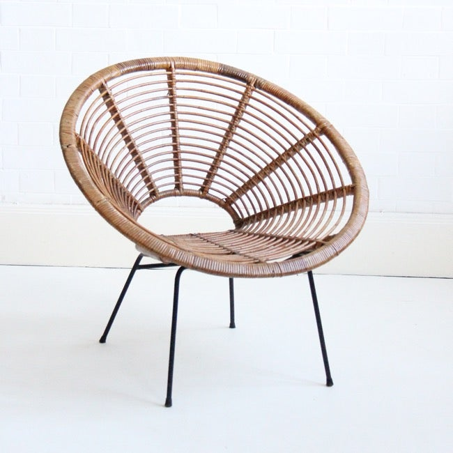 Image of mid-century cane hoop chair