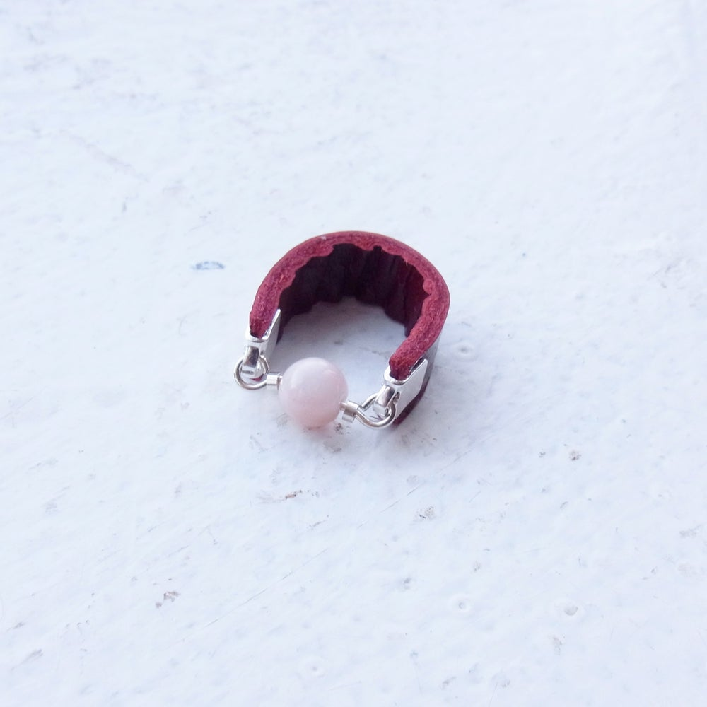Image of Cherry red and pink opal set with silver