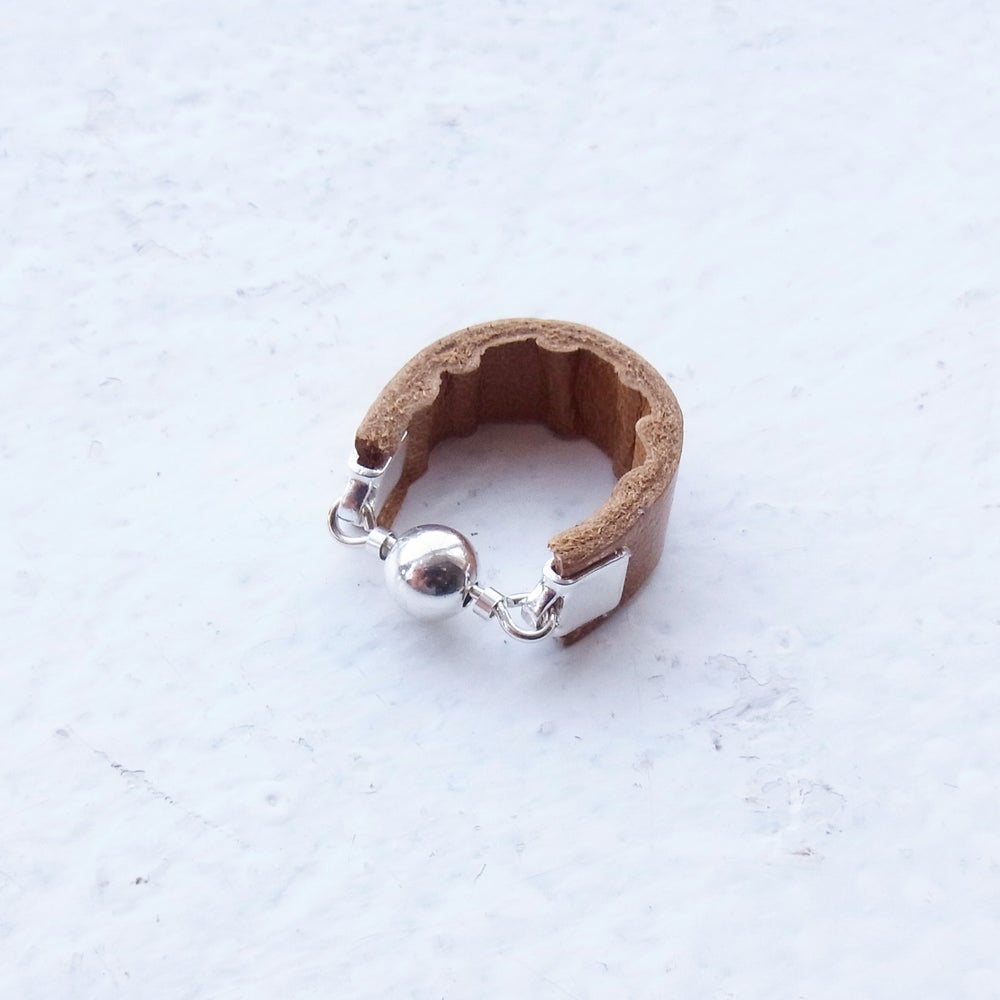 Image of Tan and Silver Dot ring