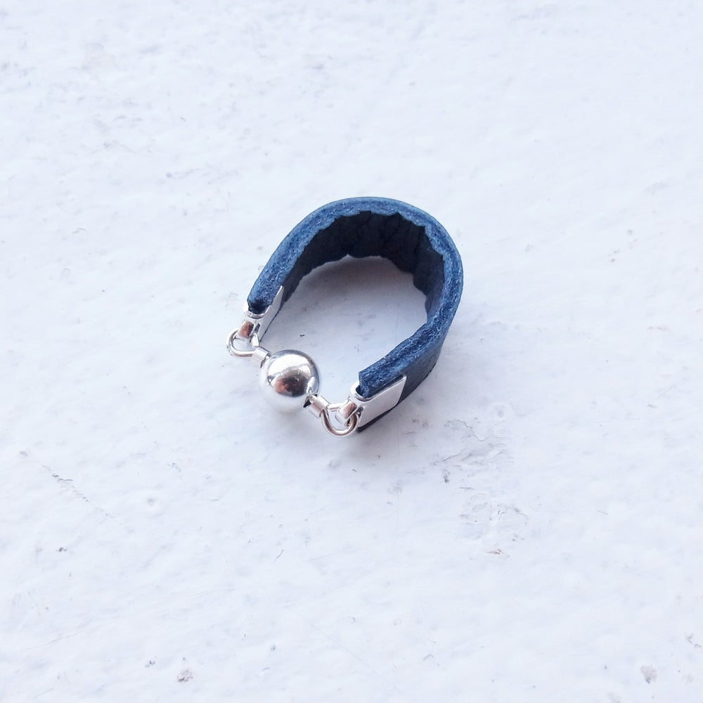 Image of Petrol blue and silver Dot ring
