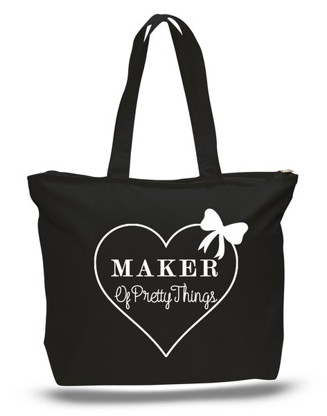 Image of Black & White Maker of Pretty Things Zippered Tote