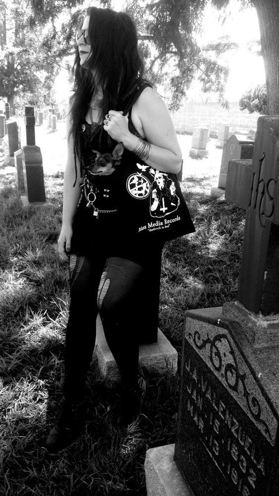 "Image of Mass Media Records Tote bag ""Deathrock is Dead"" by Goth Mommy"