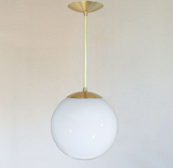 Image of The Orbiter 10 - Brass Stem Mid Century Modern Pendant Light with  10