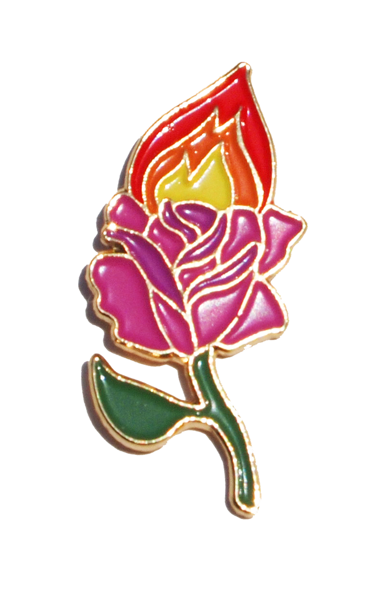 Image of ROSE ON FIRE PIN
