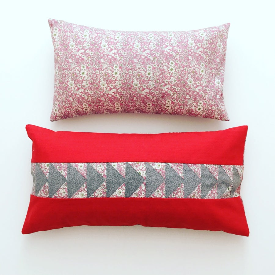 Image of Flying Geese Bolster Cushion in Burnt Orange